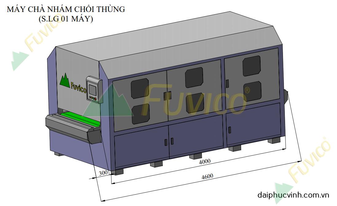 Hệ thống băng tải nạp hồi máy chà nhám thùng Fuvico 1557
