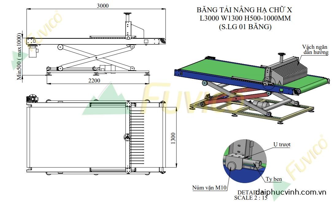 Hệ thống băng tải nạp hồi máy chà nhám thùng Fuvico 1556