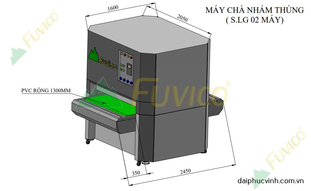 Hệ thống băng tải nạp hồi máy chà nhám thùng Fuvico 1555